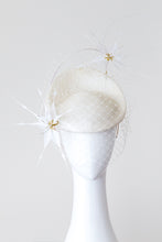 Load image into Gallery viewer, ELLA-   Ivory small platter with white feather flowers and veiling