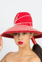 Load image into Gallery viewer, EMILY- a red and cream tall crown hat with a wide Dior brim