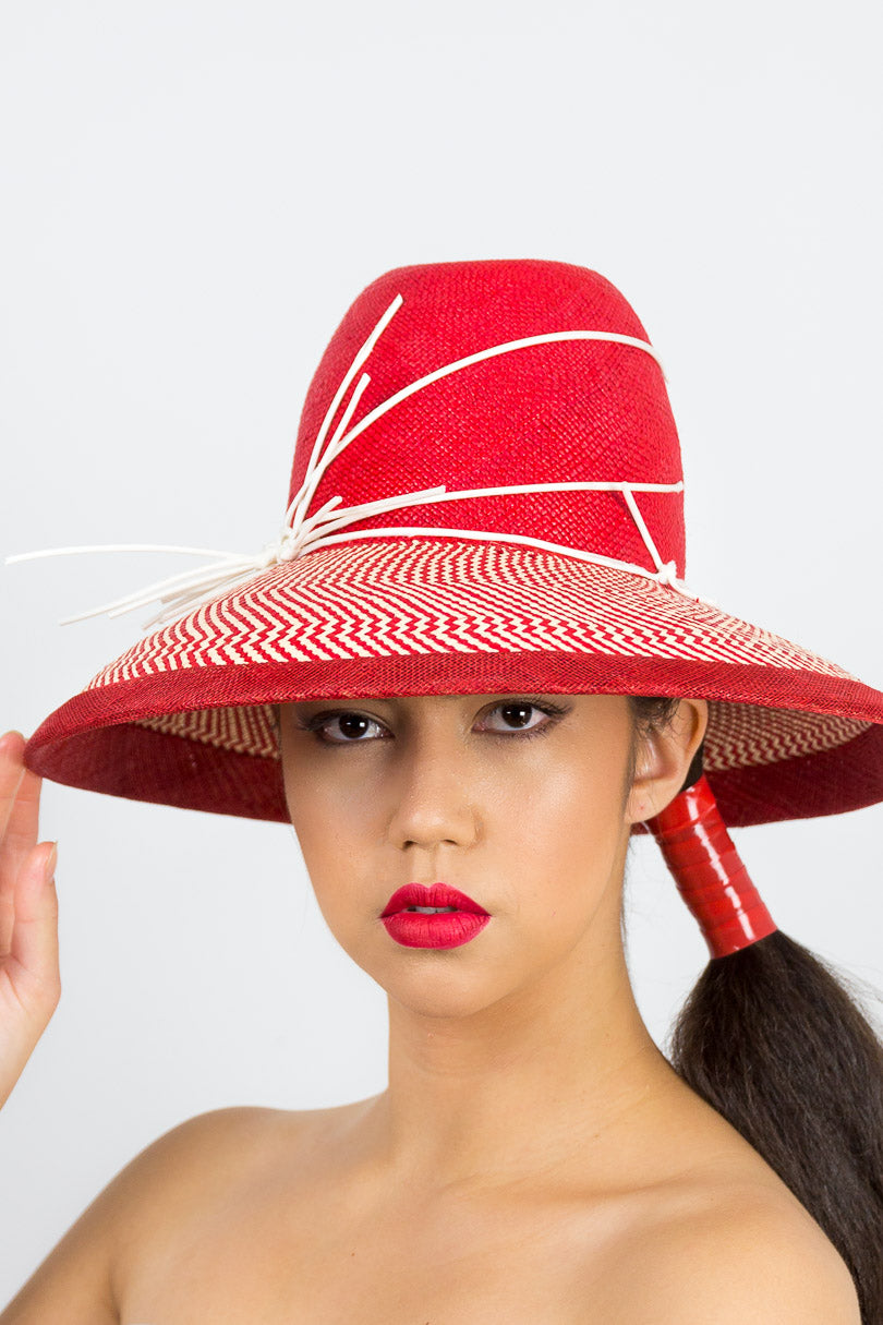 EMILY- a red and cream tall crown hat with a wide Dior brim