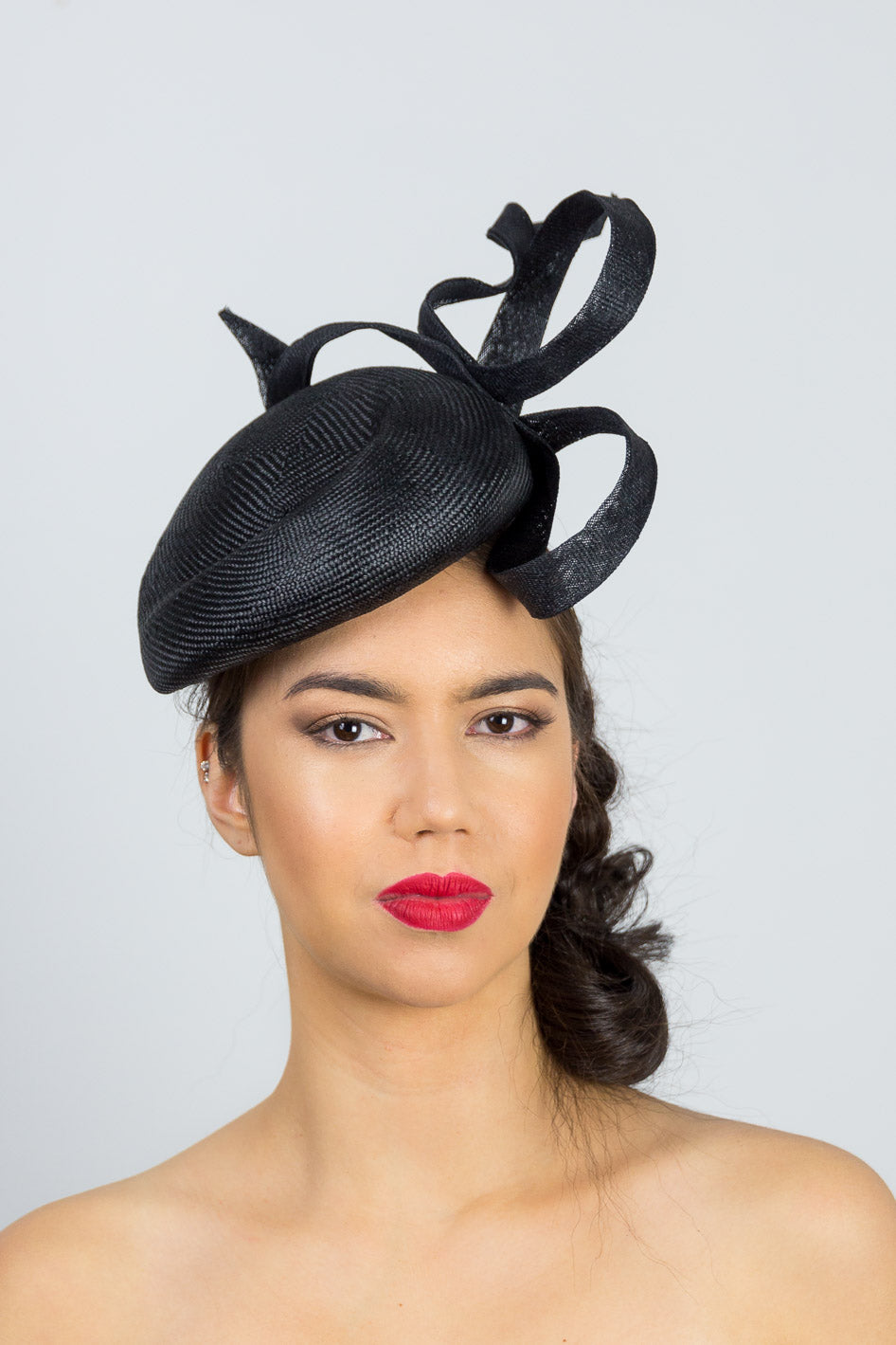 EMMA- gorgeous black straw beret with sinamay swirl