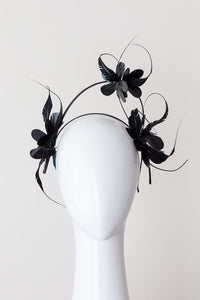 FLEUR-black floral and floating feather headband