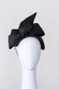 Black silk Bow Bandeau by Felicity Northeast Millinery