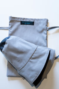 Foldable Bucket Rain Hat -Grey with travel bag by Felicity Northeast Millinery