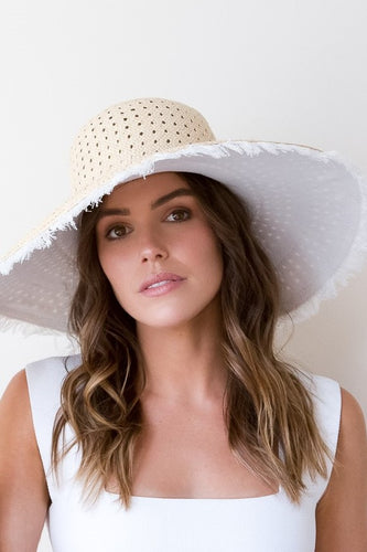 Fringed, white Organic Canvas and Straw Sun Hat