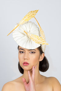 GEORGIA- a pleated straw headpiece with gold artisan feathers