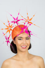 Load image into Gallery viewer, GRACE-side beret with hot pink and orange feather flowers