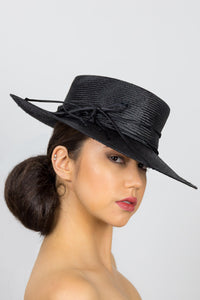 HANNAH-black flat crown fedora with piping trim