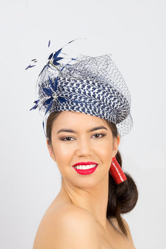 HARPER BERET-Navy and white braid beret with veiling & feather flower