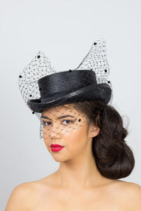 ISABELLA-Black short top hat with veiling and tie
