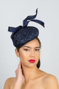 JULIA-Vintage navy straw beret with swirl