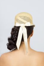Load image into Gallery viewer, KARLA-cute natural cap with ivory silk tie
