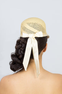 KARLA-cute natural cap with ivory silk tie