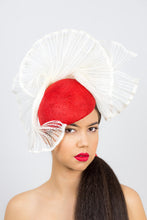 Load image into Gallery viewer, KATHERINE- Red tear drop beret with vintage pleated braid trim