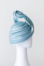 Load image into Gallery viewer, LEAH- pale blue sculptural hat with white highlights