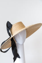 Load image into Gallery viewer, LUNA- Large fine straw braid hat with large black bow