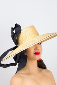 LUNA- Large fine straw braid hat with large black bow
