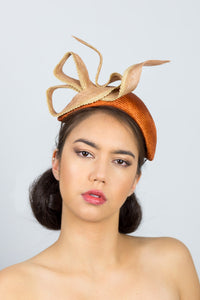 MADDISON- tan headband with beige/coffee bow