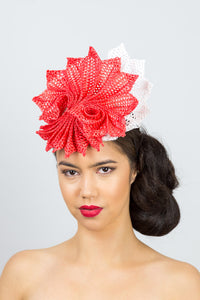 Orange and White Pleated Braid Headpiece by Felicity Northeast Millinery
