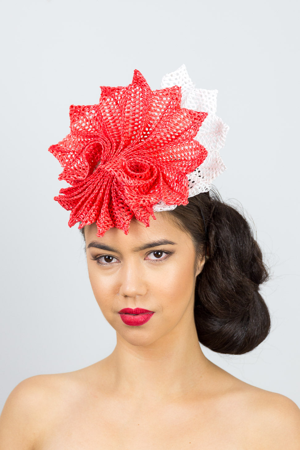 MADELINE- orange and white pleated braid headpiece