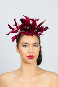 MARY- light feather flower headband in burgundy