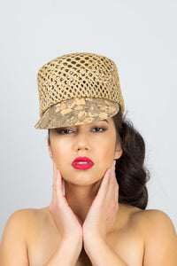 MAYA-Open weave straw cap with patterned cork brim