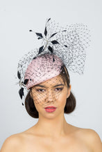 Load image into Gallery viewer, MIA-Side pink beret with black veiling and flowers