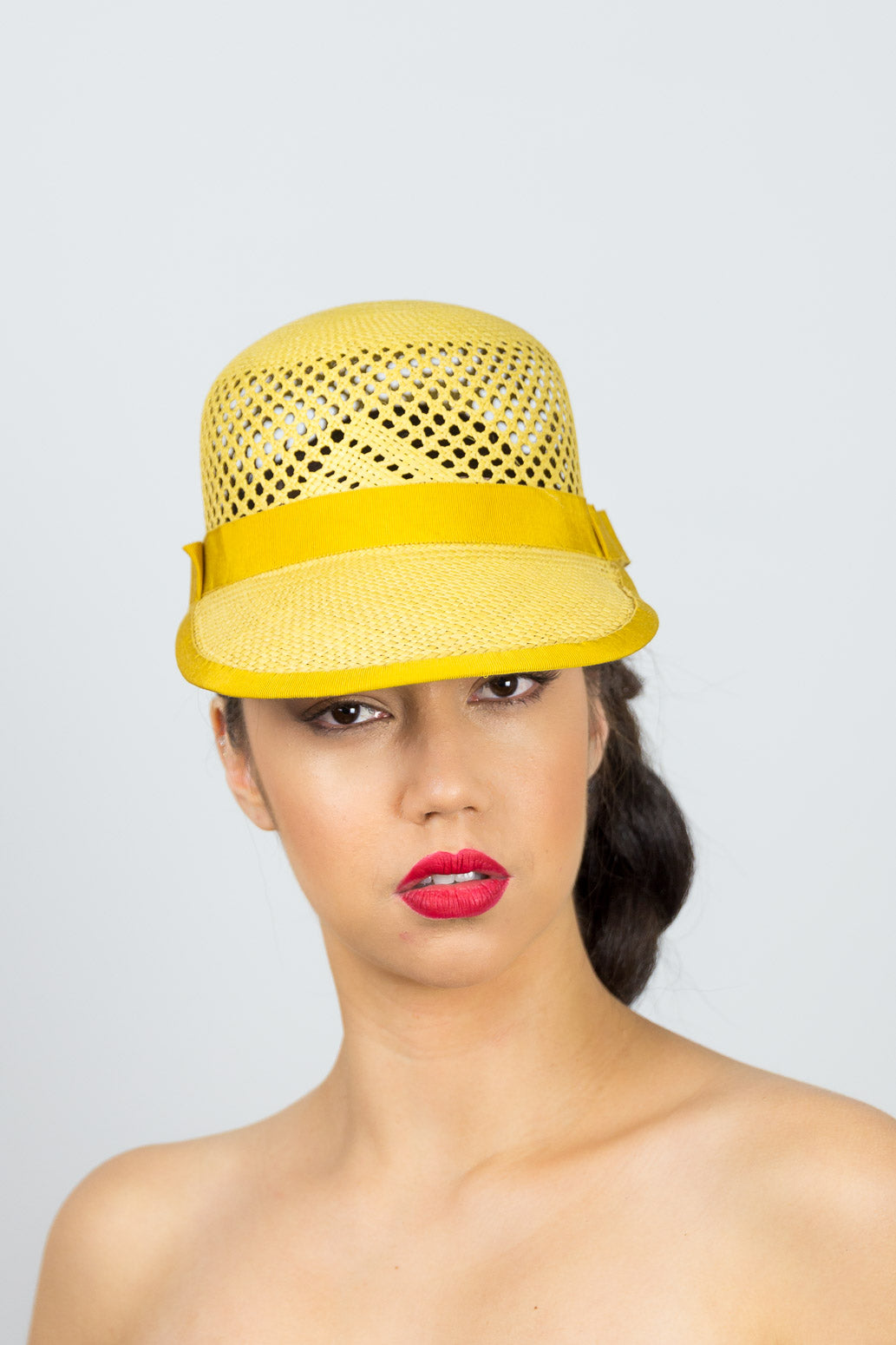 MINNIE- cute mustard cap in open weave straw