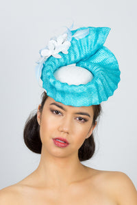 NATALIE-pleated blue and white hat with leather flowers