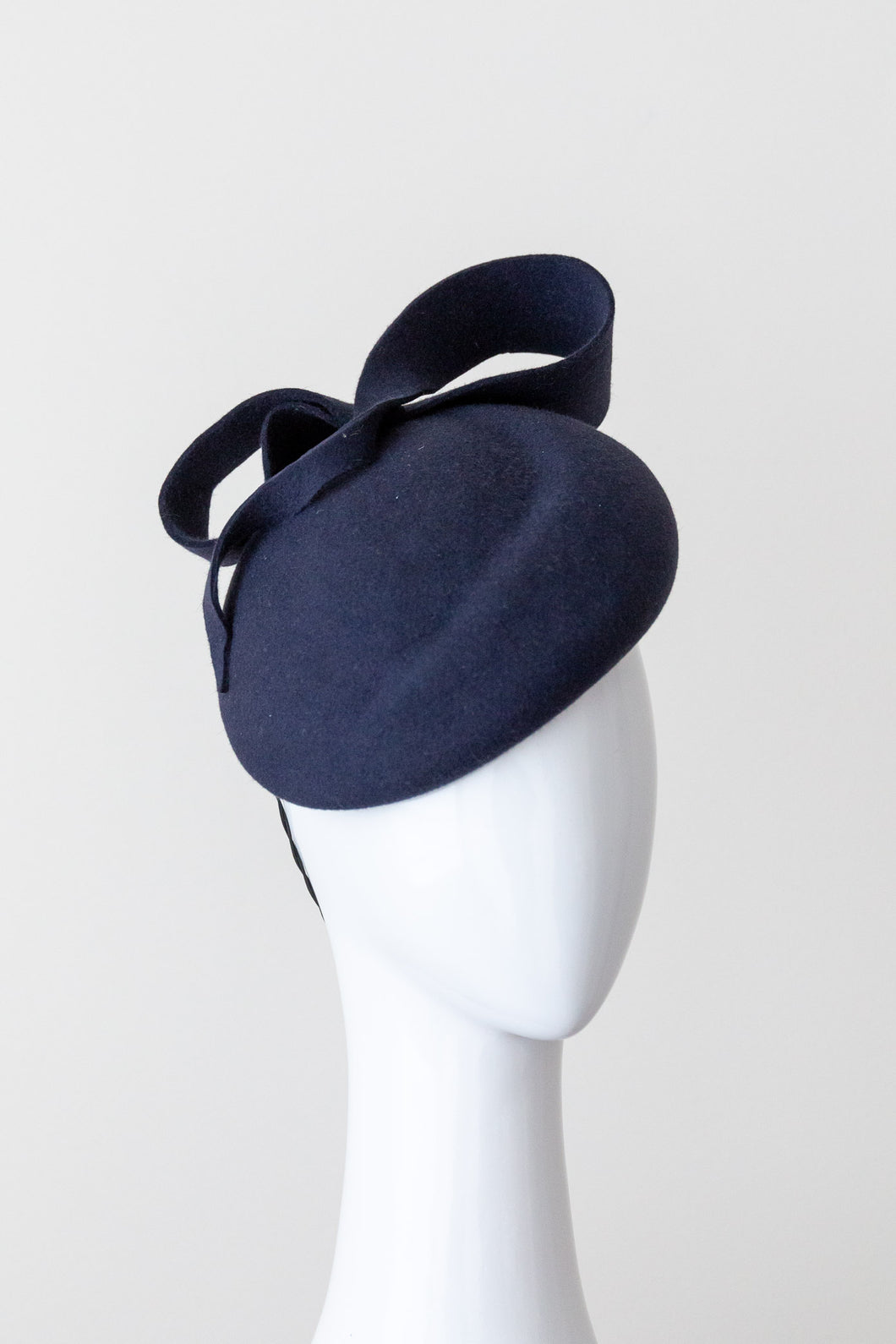 Navy Felt Beret with Curled Bow by  Felicity Northeast Northeast