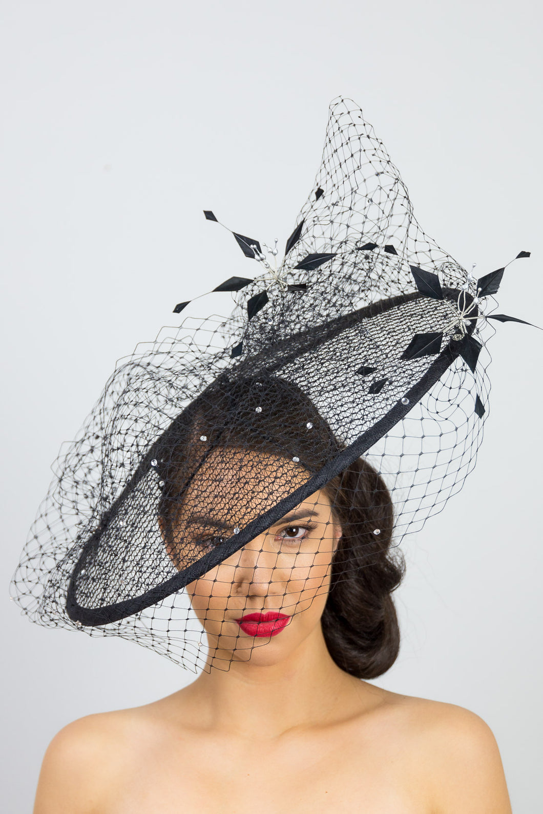 OLIVIA- Black platter style with diamante veiling and flowers