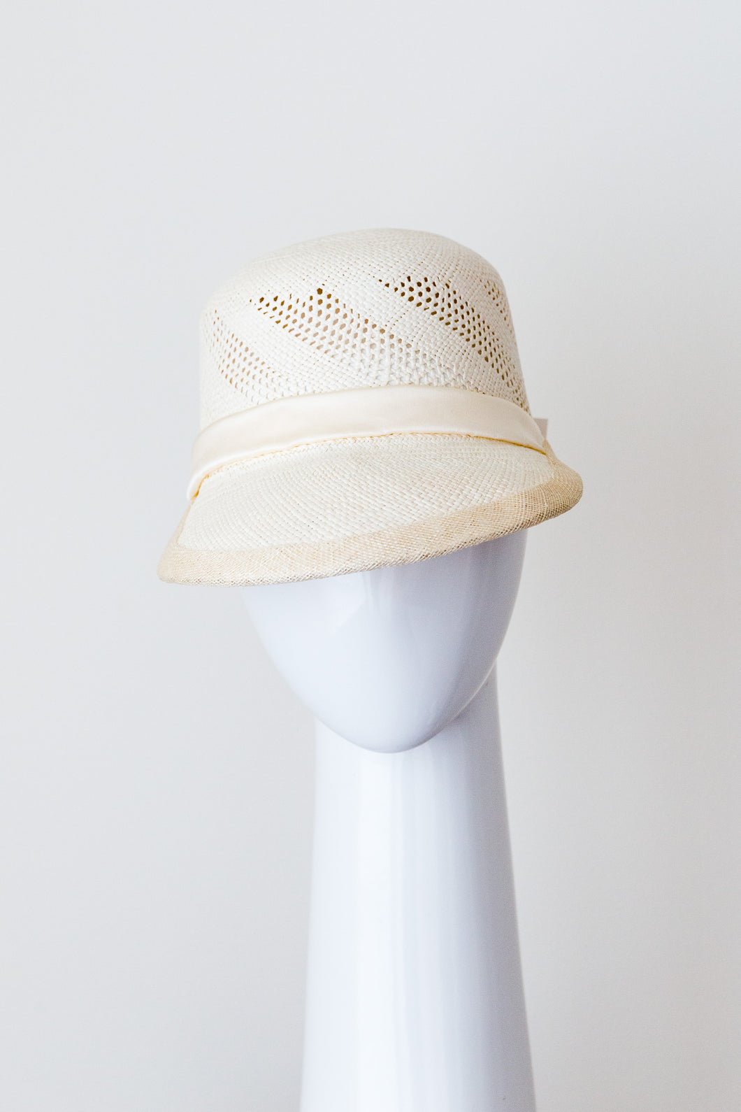 Panama straw cap with open weave  by Felicity Northeast Millinery