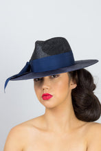 Load image into Gallery viewer, PHILLIPA- Black and navy wide brim fedora
