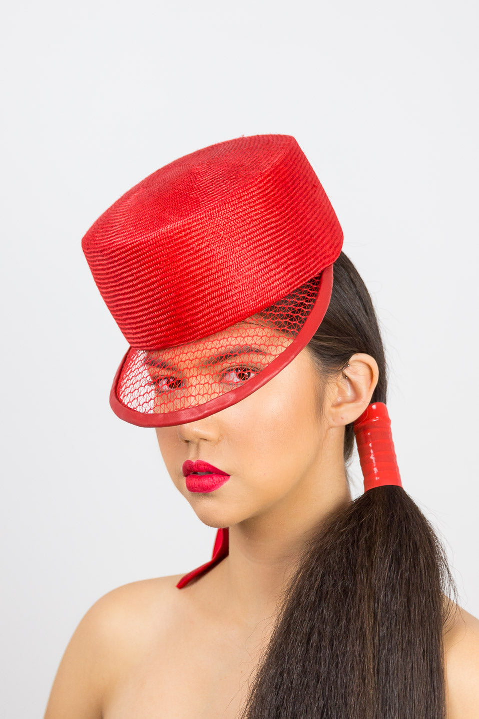 PIPER-red flat crown cap with open weave visor and tie