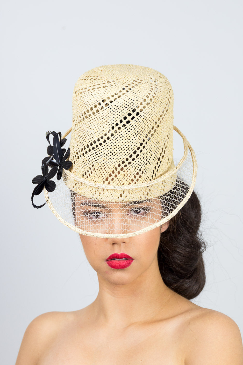 POPPY CAP-tall open weave natural straw cap with black floral trim
