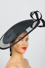 Load image into Gallery viewer, RUBY- black platter hat with structured veil and bow