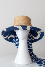 Load image into Gallery viewer, Raffia and Blue Canvas lined  Bucket Sun Hat with detachable scarf