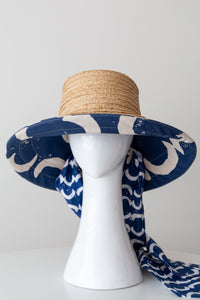 Raffia and Blue Canvas lined  Bucket Sun Hat with detachable scarf