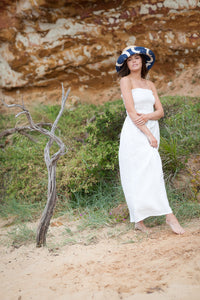 Raffia and Blue Canvas Bucket Sun Hat by Felicity Northeast Millinery