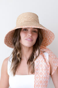 raffia and  orange and terracotta canvas bucket hat with scarf