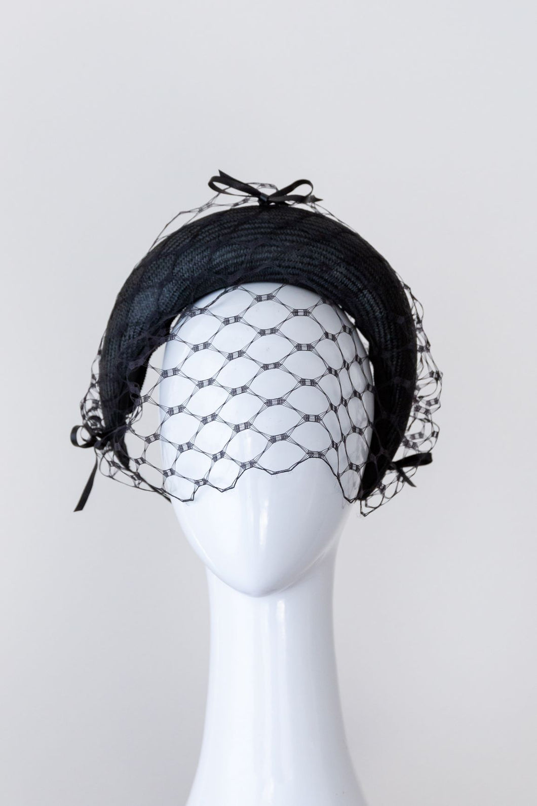 Little Black Bow Headband with removable veiling