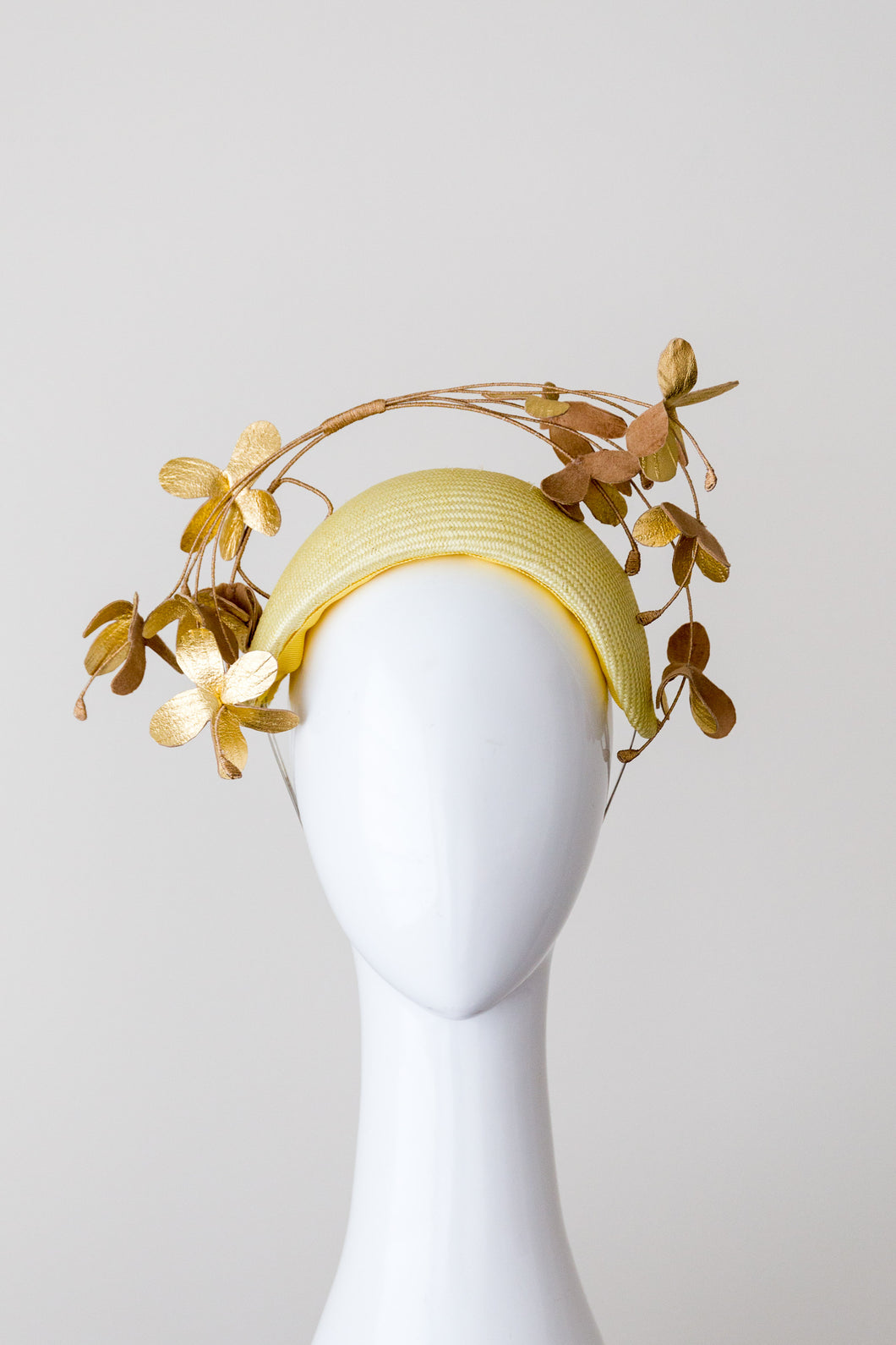 SAMANTHA- Lemon raised headband with gold leather flowers
