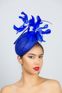 SARAH- cobalt blue beret with soft floating feather flowers