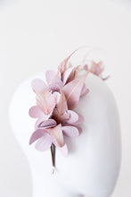 Load image into Gallery viewer, SAVANNAH-  leather flowers with pink feathers on a headband