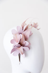 SAVANNAH-  leather flowers with pink feathers on a headband