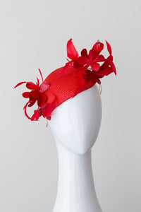 TESS - Red side tear drop fascinator with leather flowers