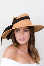 Load image into Gallery viewer,  Wide brimmed Tan Summer Sun Hat with  BlackTies