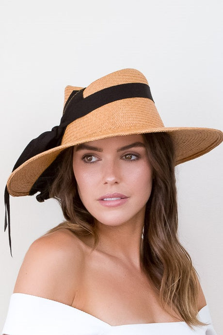 Wide brimmed Tan Summer Sun Hat with  BlackTies