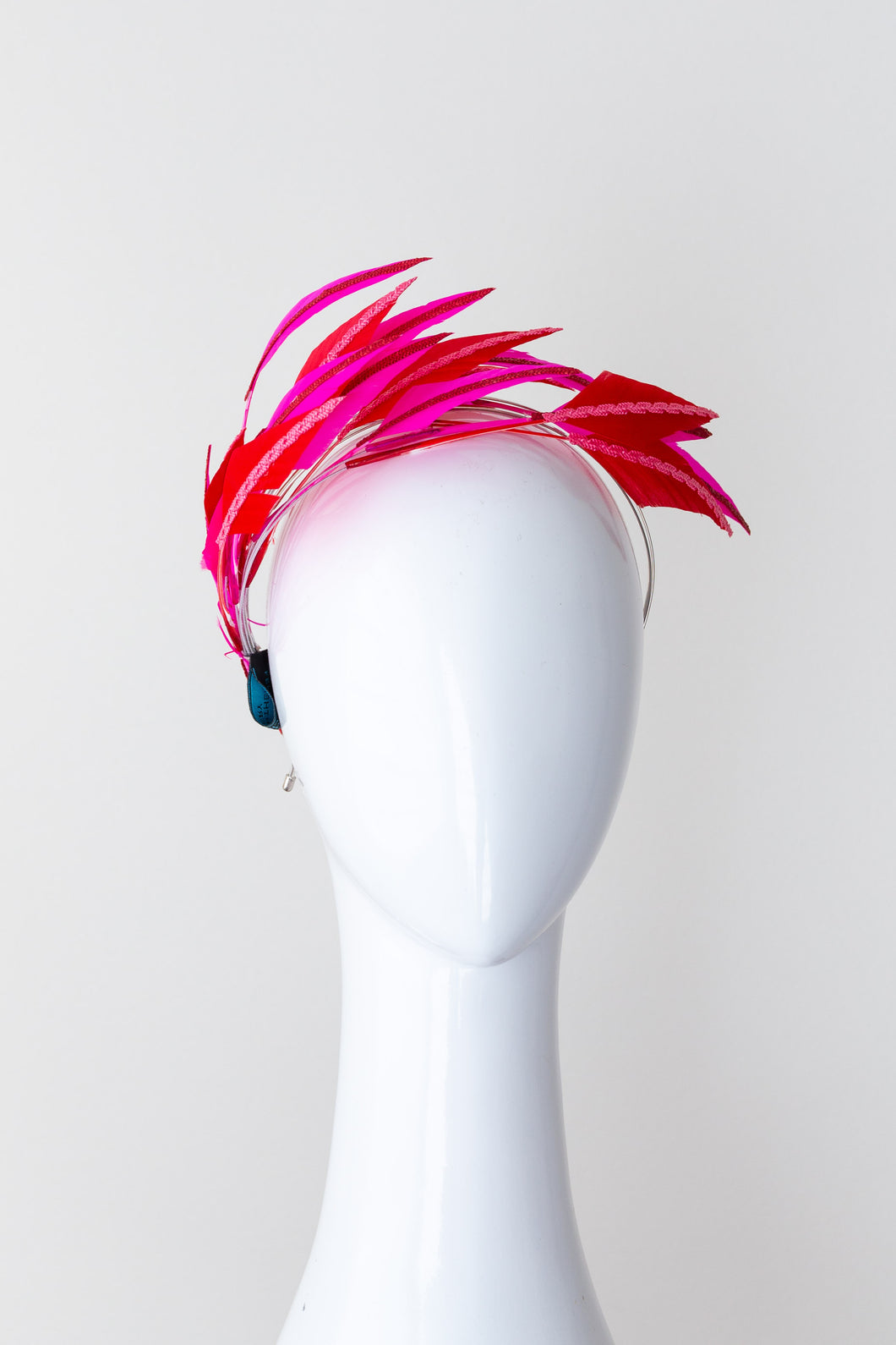 feather headband in hot pink and red