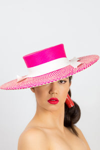 WILLOW-Hot pink and cream herringbone panama boater