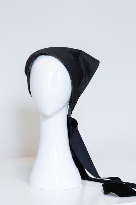 Waterproof Head Scarf with velvet ribbon by Felicity Northeast Millinery